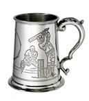 Pewter tankards with sport scenes and handles