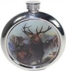round coloured pewter picture flasks