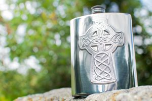 4756CC celtic cross embossed flask