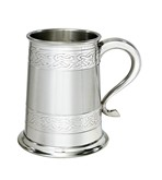 Embossed celtic bands 1 pint pewter tankard
