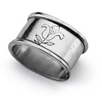 Pewter oval engraved napkin ring