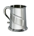 Diagonal Stripe 1 Pint Pewter Tankard