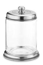 Pewter and glass storage jar  19,5 cm