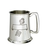 18 key and scroll stamped pewter tankard