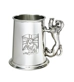Union Jack Lion Handle 1 pint pewter Tankard