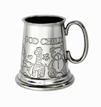 God Child quarter pint pewter baby Mug
