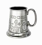 God Child quarter pint pewter baby Mug