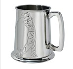 Embossed Golfer 1 pint pewter Tankard