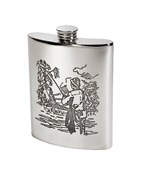 6oz Fishing Scene pewter kidney hip Flask