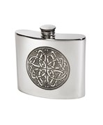6oz Pewter Celtic circle kidney hip flask