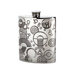 6oz Retro Pewter kidney Hip Flask