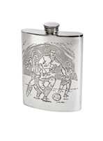 6oz Football Scene pewter kidney hip Flask