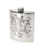 6oz Hunting Scene pewter kidney hip Flask