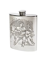 6oz Rugby Scene Pewter kidney Hip Flask