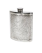 6oz Tiger Leaf Pewter Kidney Flask
