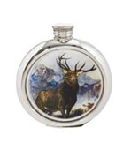 6oz round Monarch of the Glen Pewter Picture flask
