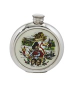 6oz round pewter Scottish picture Flask