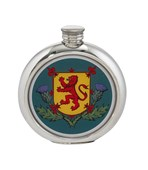 6oz round Thistles and Lion Rampant pewter picture flask