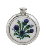 6oz round Thistle pewter picture flask