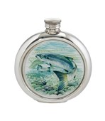 6oz round Salmon Pewter Picture Flask