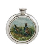 6oz Round Pewter Partridge Picture Flask