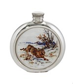 6oz round Hare Picture Pewter Flask