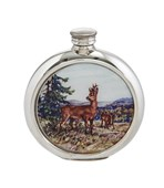 6oz round Deer Picture Pewter Flask