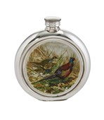 6oz round Pheasant Pewter Picture Flask