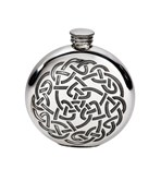 6oz round pewter celtic knot flask