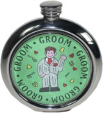 Groom 6oz round pewter Picture Flask