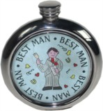 Best Man 6oz round pewter picture flask