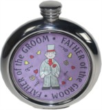 Father of the Groom 6oz round pewter picture flask