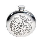 6oz Round Yorkshire Rose Pewter Flask