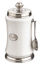 Pewter and ceramic coffee canister with spoon