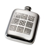 4oz Medieval Tile Pewter Pocket Flask
