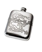 Chinese Dragon Pewter pocket Flask