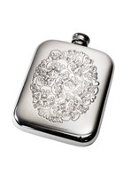 6oz Skull Heart Cluster Pewter Pocket Flask