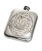 6oz Usquabae Thistle Skull and Hearts Pewter Pocket Flask