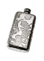 Small Peacock Pewter Pocket Flask