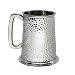 Hammered 1 pint pewter Tankard
