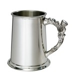 Thistle handle 1 pint pewter tankard