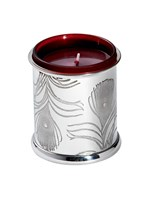 Peacock Feather Pewter Candle Votive