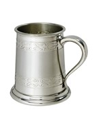 Half pint embossed celtic band pewter tankard