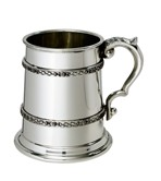 Half pint double celtic band pewter tankard