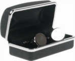 Nickel plated Polished oval cufflinks in presentation box