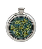 6oz round Kells green pewter picture flask