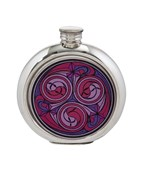6oz round Kells red pewter picture flask