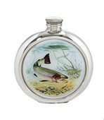 6oz round Trout Pewter Picture Flask