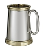 Wortley X Range Pewter and Brass heavy 1 pint tankard