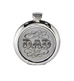 6oz Round DAD Picture Pewter Flask
